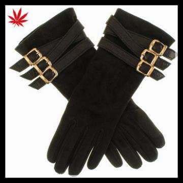 Black Suede Buckled Musketeer Gloves for lady