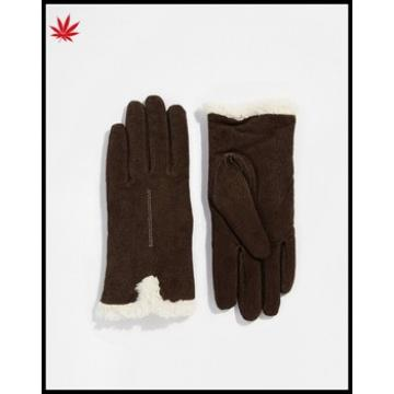 ladies cheap high quality suede leather gloves with fur