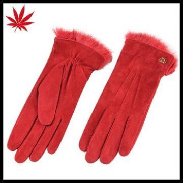 Winter fashion warm red pig suede velvet Rabbit fur leather gloves