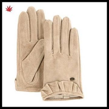 cheap leather glove short style with high quality suede leather glove for women