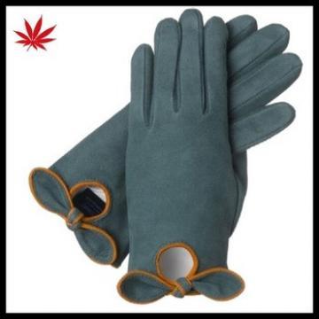girls wearing cute suede darkgreen bow leather glove