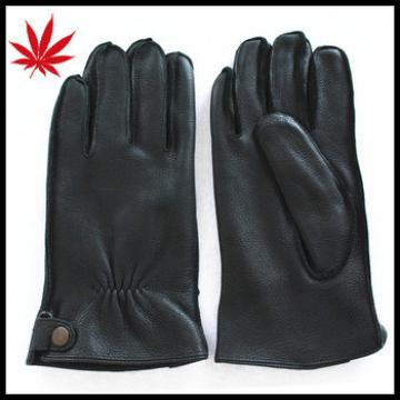 Men's luxuries black deerskin leather gloves with outseam effect