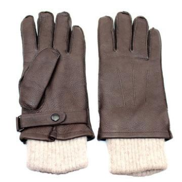 wholesale price brown genuine leather gloves with knit wrist
