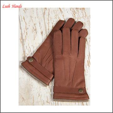 2016 Men's brown buckskin leather gloves with buttons