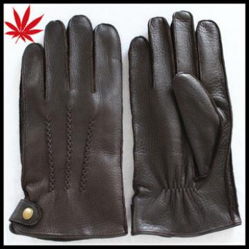 Buckskin leather gloves for men with high quality