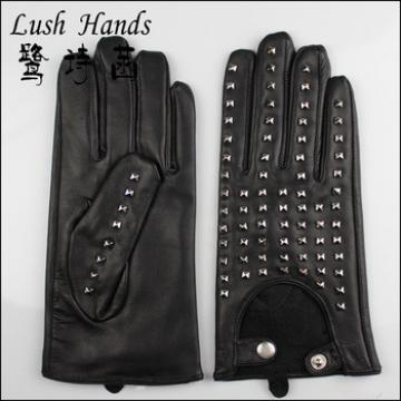 fashional new driving 100% genuine leather gloves with metal studs