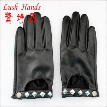 best seller genuine leather gloves with rivets decorated