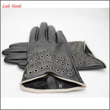 2017 women short style black driving PU leather gloves with rivet air hole