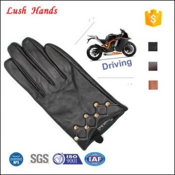 Women's black driving leather gloves wholesale