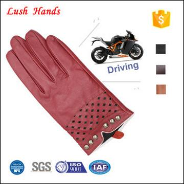 2017 New style ladies red driving leather gloves with breathing hole and rivets of metal