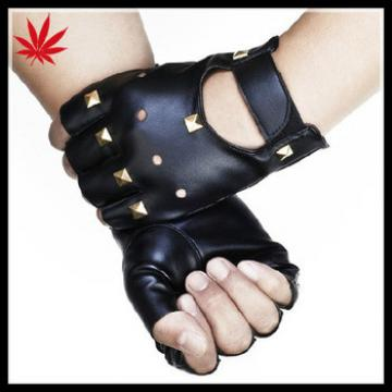 Top sheep leather ladies driving fingerless gloves