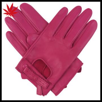Women's unlined driving leather gloves dark pink