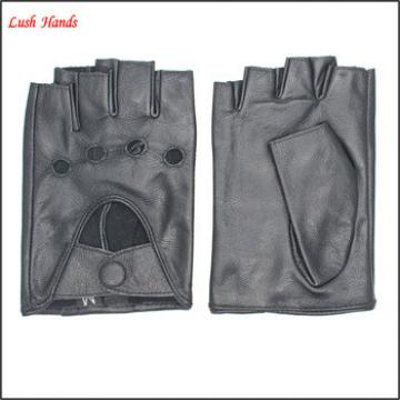 The coolest short mens biking and drving black sheepskin leather gloves