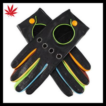 Black fashion Leather Driving Gloves with Multi Colour Detail car driving gloves