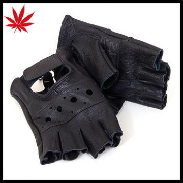 Fingerless Work Out Gloves Durable Leather Mens Womens Unisex For Driving, Bike
