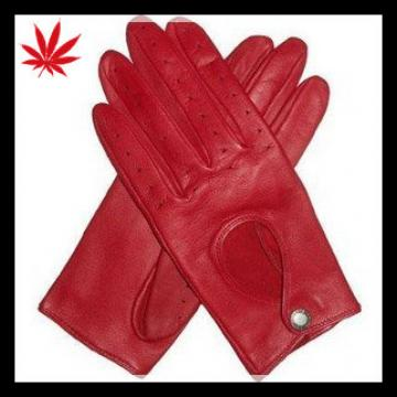 Women red diving leather gloves for sport