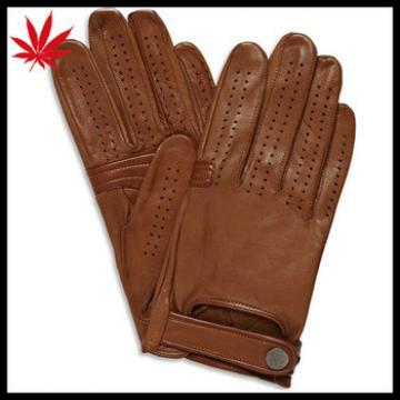 Brown super soft lined leather driving gloves for men