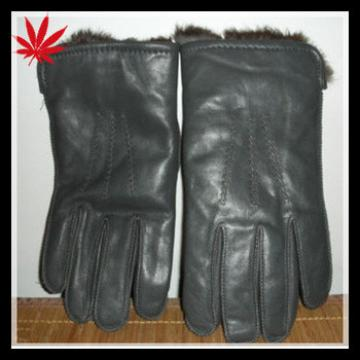 Vintage Mens Dark Gray Leather Gloves With Real Rabbit Fur Lining