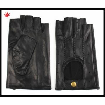 mens black leather fingerless car driving gloves