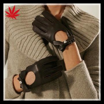 Ladies black driving leather gloves with bowknot 2014