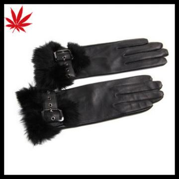 Rabbit Fur - Women's Long Lambskin Winter Warm Soft Brown Leather Driving Gloves