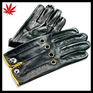 New style black leather driving gloves for men
