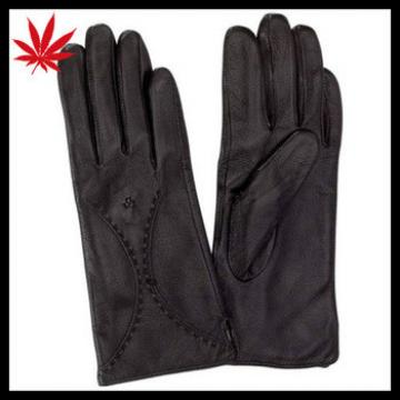 New SMALL Womens BLACK Genuine LEATHER Driving GLOVES Lined Ladies Dress Biker