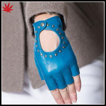Navy studded fingerless driving leather gloves women