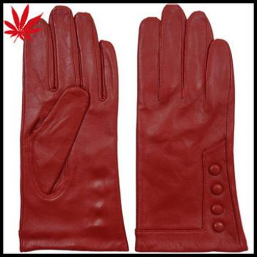 China red womens leather gloves with buttons driving style