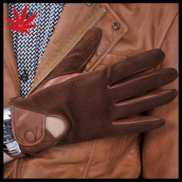 Fashion Men's Driving Leather Gloves with knitted holes suede back