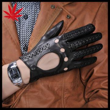 Fashion Men's Driving Leather Gloves with knitted holes