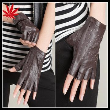 Ladies Urban fashion fingerless leather gloves with holes on the back