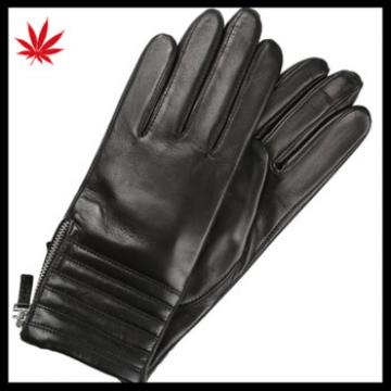 2017 new style ladies genuine sheepskin leather gloves Whole palm touch screen gloves with zipper