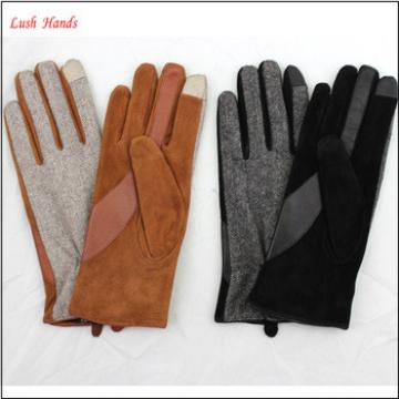 ladies fashion fabric and sheepsuede touch screen leather gloves