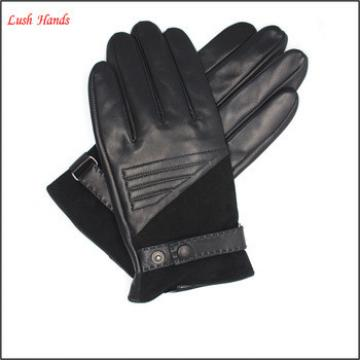 Men's suede leather gloves and with Belt and buttons details