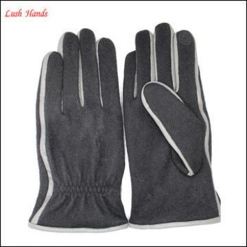 Men's texting winter gloves woolen gloves with sheep nappa brim