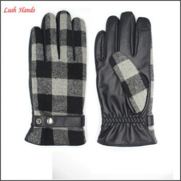 new style men's Pu leather and fabric touch screen leather gloves