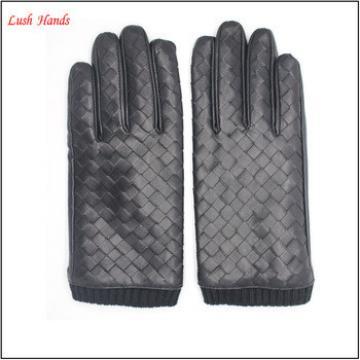 2016 Hot sell male business warm winter sheepskin leather gloves black
