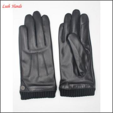 hot sale ladies leather gloves and two tone lining with Index finger touch screen function