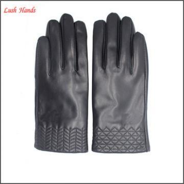 women short sheep leather gloves with grid partten cuff Telefingers gloves