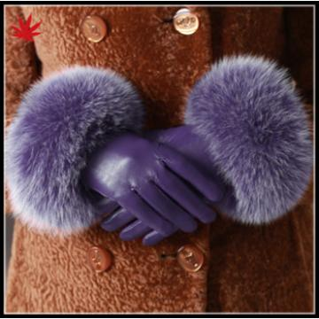 High quality ladies Fur touch screen sheepskin leather gloves