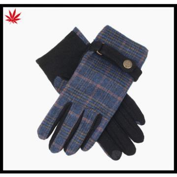 Ladies cheap touch finger fashion woolen gloves with belt