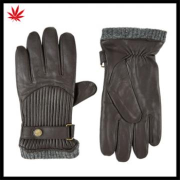 2016 hot selling mens genuine leather gloves with knitted cuff