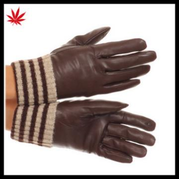 Ladies touch screen leather gloves used for smartphone