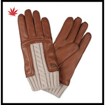 2016 hot selling womens genuine leather gloves with creamy-white knitted wrist