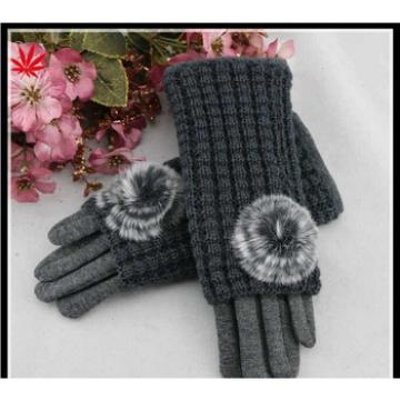women cheap grey micro velvet hand gloves with knitting set