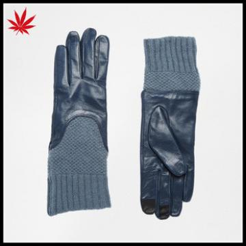 Ladies navy blue leather gloves with long knit cuff touch screen leather gloves