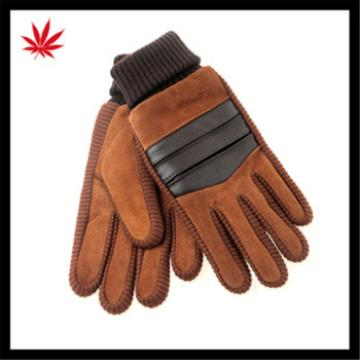 2016 hot selling womens warm suede gloves with knitted wrist