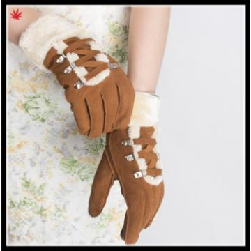Ladies fashion double face integration fur gloves with strings