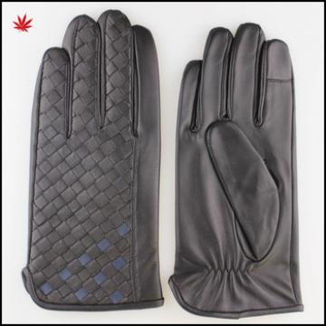men fashion sheepskin finger touch screen woven two colour leather gloves